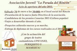 Acto de Apertura del año 2015 de la Asociación La Parada del Rincón el sábado 24 de enero