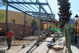 Las obras de acondicionamiento del Terrero de Bola Canaria siguen a buen ritmo.