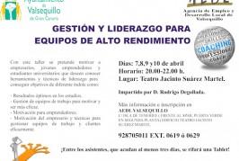 """Taller de """"Gestión y Liderazgo para Equipos de Alto Rendimiento"""" en Valsequillo"""