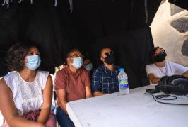 """Francisco Atta y Lucía Melián visitan el set de rodaje de la película """"La piel del Volcán"""" en Valsequillo"""