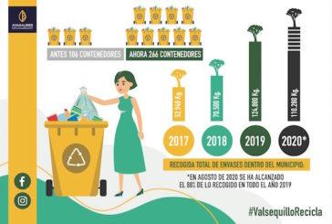 Valsequillo supera la media de recogida de envases ligeros en Gran Canaria